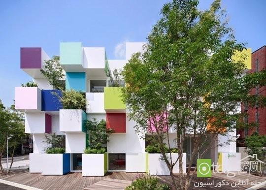 نمای ساختمان مدرن و شیک با طراحی رنگارنگ و جذاب مدل 2015