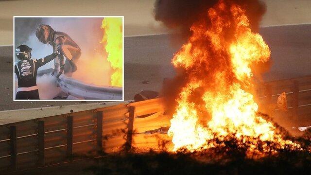 نجات معجزه آسای راننده فرمول یک از آتش در جایزه عظیم بحرین